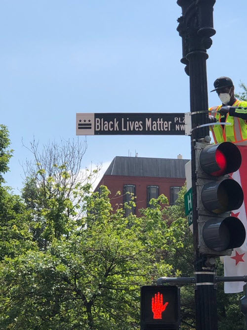 black lives matter street sign in DC