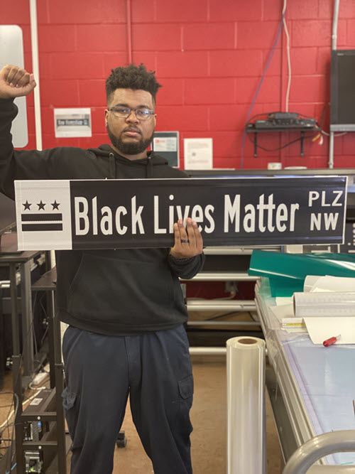 black lives matter street sign designer